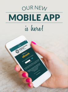 Our new mobile app is here! Hand holding phone with ebranch on the screen.