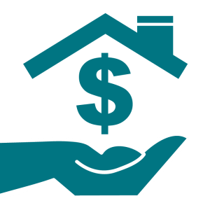 Graphic of hand with roof and a dollar sign for Mortgage Grants