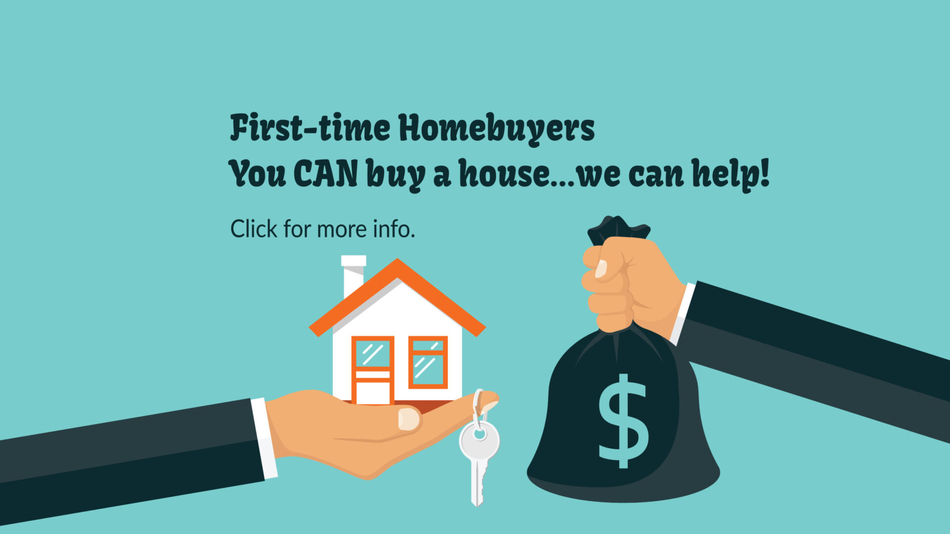 Teal background and hand holding a bag of money and a house to represent Mortgage Grant from Federal Home Loan Bank of Des Moines. First time home buyers you can buy a house and we can help.