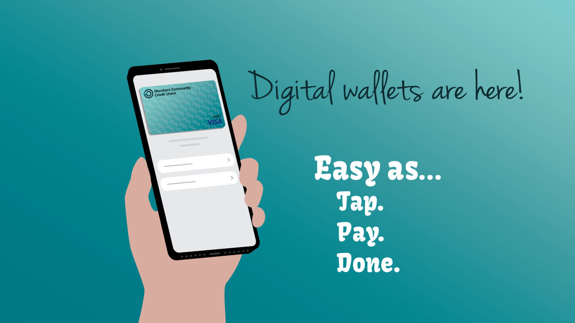 Teal background with text - digital wallets are here. Easy as Tap, Pay, Done. Hand holding cell phone with MCCU debit card.