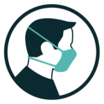 Navy and Teal Head Icon with Face Covering